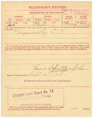 Click to enlarge back of WWI Draft Registration Card